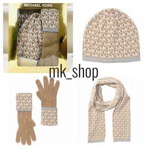 Michael Kors Logo Hat Gloves & Scarf Gift …